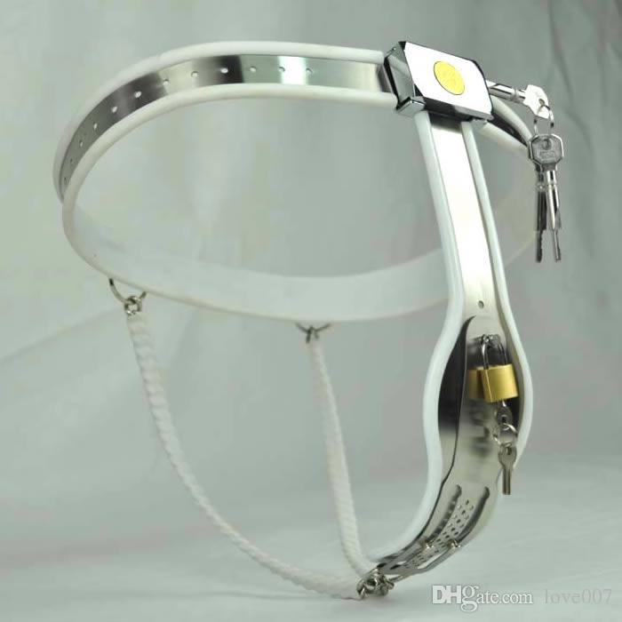 1 sets Female Adjustable shuang Model-Y Stainless Steel Premium Chastity Belt Locking Cover Removable WHITE color