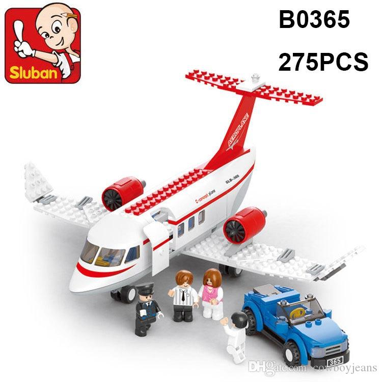 SLUBAN Building Blocks City Airport Aviation C-Concept Plane Model Building Block Toys B0365 275pcs 4dolls toys for children lepin toy