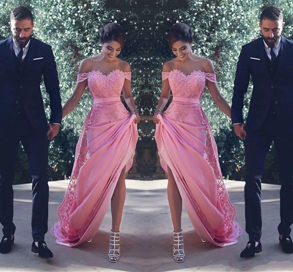 Sexy weg von der Schulter Brautjungfer Kleider lang mit SpitzeAppliques Schärpe einer Linie Hochzeitsgast Kleid Trauzeugin Günstige Cocktailkleider