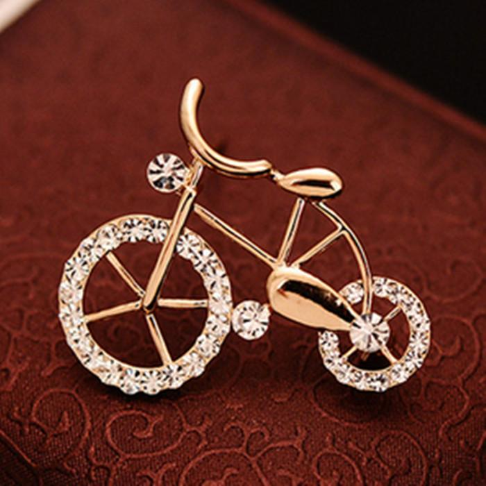 Cute Bicycle Small Brooch Corsage For Kids Crystal Brooches Gold-color Broche Birthday Gift Hijab Pins Blouse Collar Clips