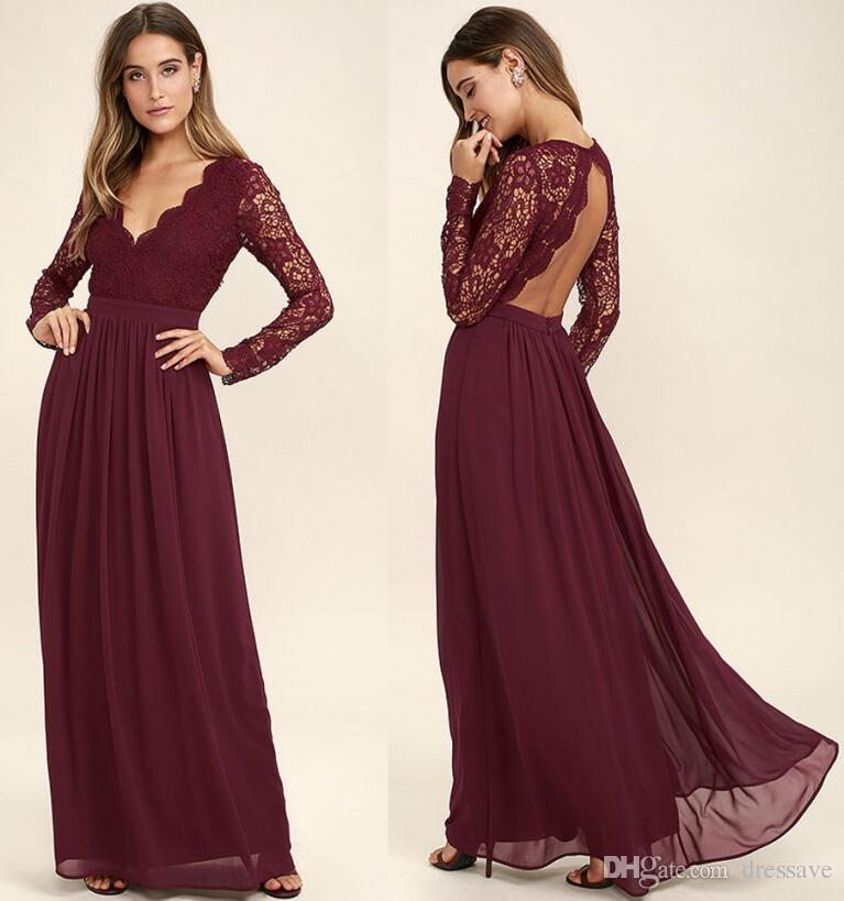 2018 Burgundy Lace Bodice Chiffon Skirt Burgundy Bridesmaid Dresses Illusion Long Sleeves Junior Wedding Party Bridesmaids Dress Cheap Bridesmaid