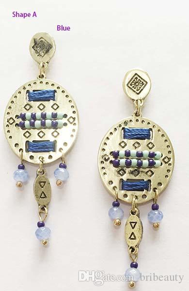 New Delicate Superbeads Orecchini Lampadario Boemia Con Perle di Vetro Ciondola Stile Etnico Piccoli Branelli Perline Orecchini Filo Metallico Design