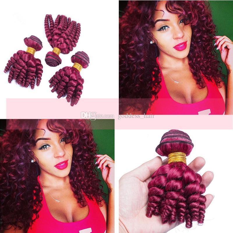 Новое прибытие бразильская девственница Фунми #99j дешевые человеческие волосы ткет 8-30 дюймов вино красный романтика кудри уток волос Для женщины