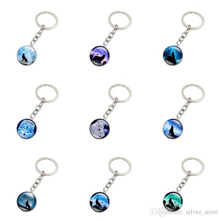 Good A++ Burst howling wolf moon gemstone key ring pendant jewelry key chain KR148 Keychains mix order 20 pieces a lot
