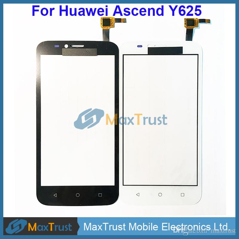 "High Quality 5.0"" For Huawei Ascend Y625 Touch Screen Digitizer Front Glass Panel Sensor Black White Color"