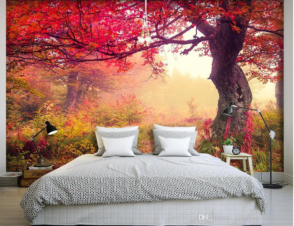 Highland Trees Autumn Leaves Natural Landscape Backdrops Wallpaper For Walls 3 D For Living Room Canada 2020 From Catherine198809100 Cad 23 08 Dhgate Canada