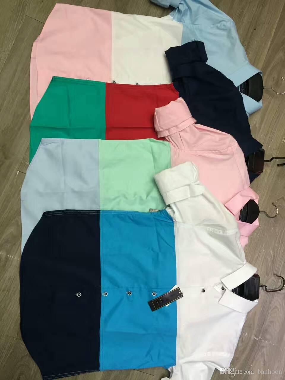 Shirt design new 2017 -  2017 New Autumn Shirts Short Tee Casual Custom Online Men Shirt Design Colour Mens Print Patchwork