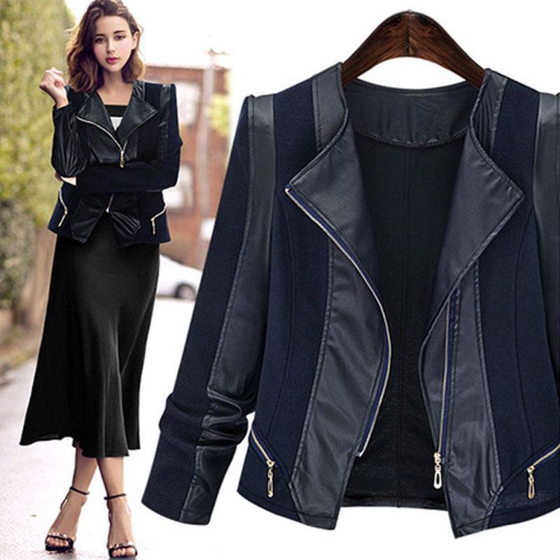 Wholesale- New Frauen Herbst-Winter-beiläufige grundlegende PU-Leder-Jacken-Mantel-Patchwork Schwarz Top-Reißverschluss volle Hülsen Plus Size