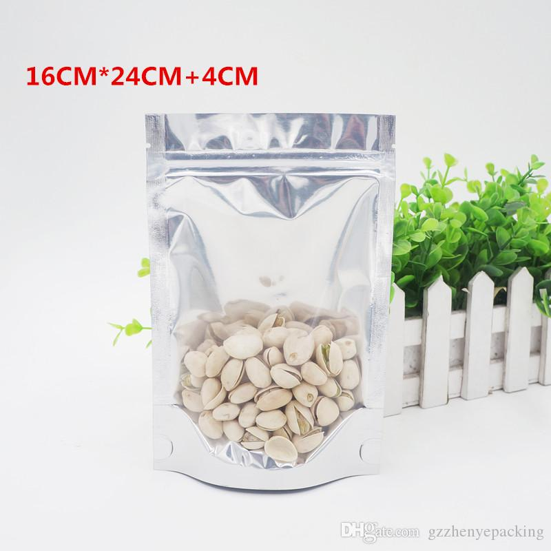 16 * 24 + 4cm 반투명 알루미늄 자동 씰링 가방 식품 포장 백 스테레오 지퍼 뼈 백 직접 판매 스팟 100 / 패키지