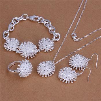 Mode-sieraden sets 925 zilveren ketting ring oorbel en armband charme vuurwerk sieraden voor vrouwen goedkope hete 5 sets / partij