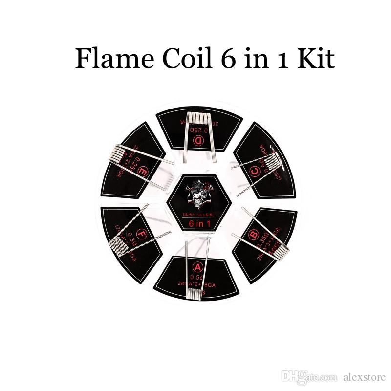 100% Authentic Demon Killer Flame Coil 6 in 1 Kit Coil Prebuilt Coils 316L Material 6 Types Pre-built Heating Premade Wire for Vape
