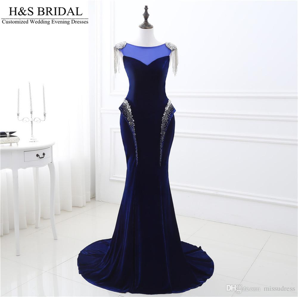Dark Blue mermaid prom dresses Sheer Neck Sexy Beaded bling prom dress Backless Lace Up dresses evening wear Beaded dresses party evening