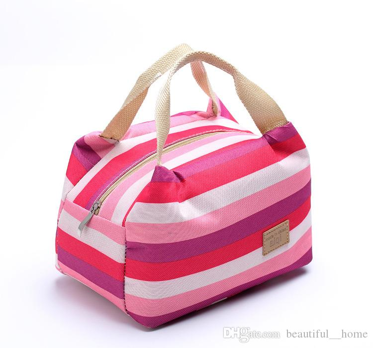 2017 hot Canvas Stripe Picnic Lunch Drink Thermal Insulated Cooler Tote Bag 450ML Portable Carry Case Lunch Box 6 Colors 06ZU