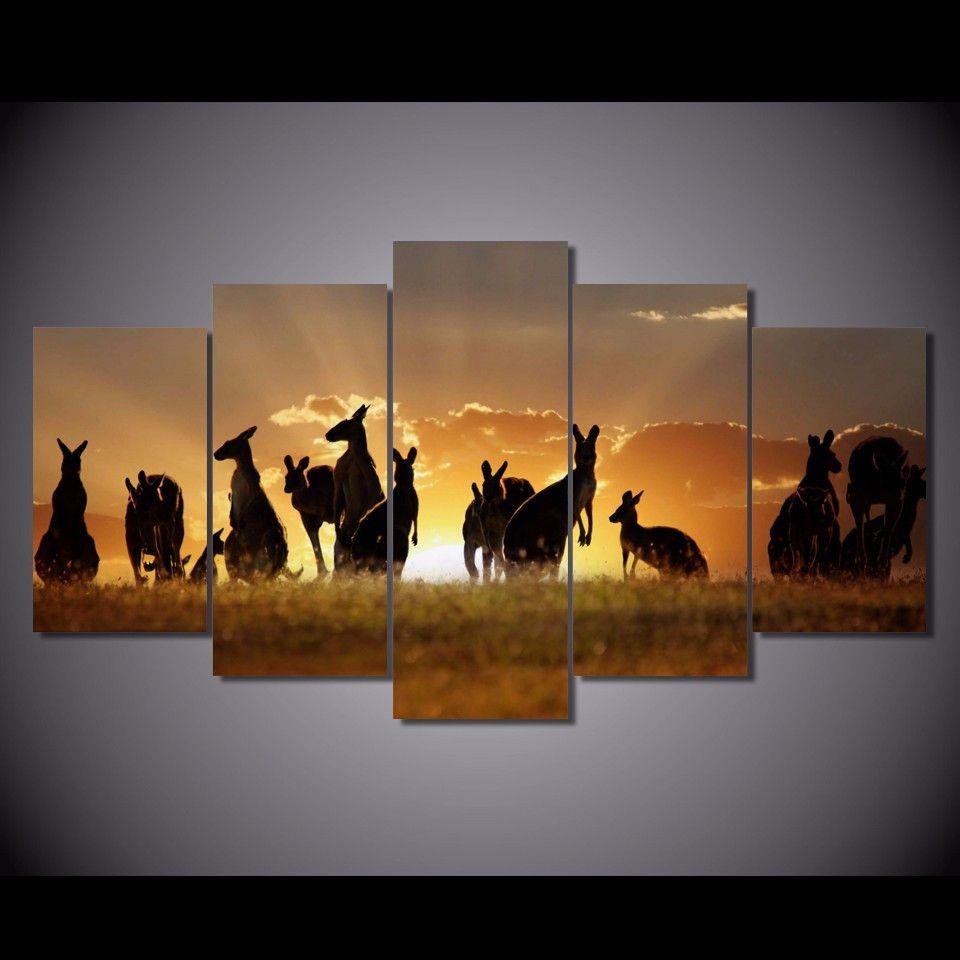 5 Pcs / Set Encadrée HD Imprimé Coucher De Soleil Kangourous Image Mur Impression Affiche Toile Peinture À L'huile Abstrait Mur Art