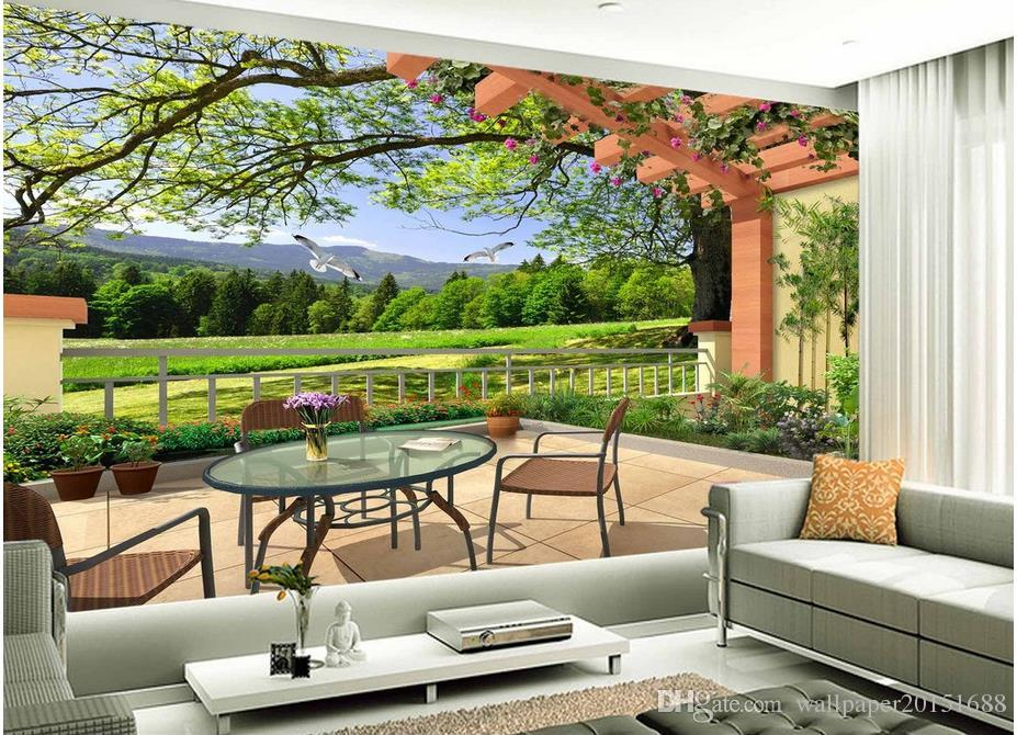 Three Dimensional 3D Landscape Painting Living Room TV Wall Mural 3d Wallpaper Papers