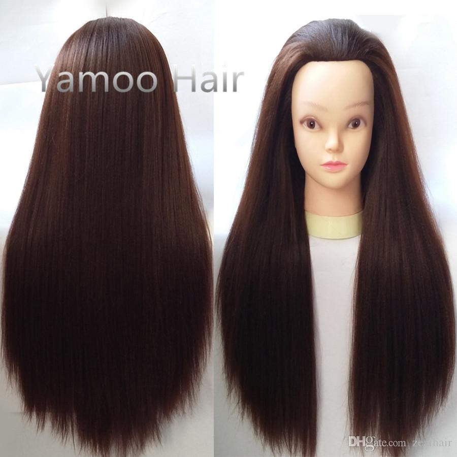 training head brown 65cm High Temperature Fiber and Animal Hair hairdressing doll heads free shipping good female mannequin head