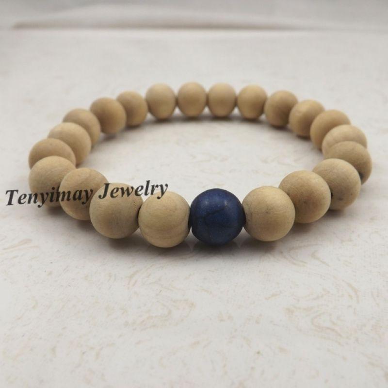 20 unids / lote elástico 10 mm pulseras moldeadas de madera original con azul turquesa de bolas para las mujeres joyería de moda