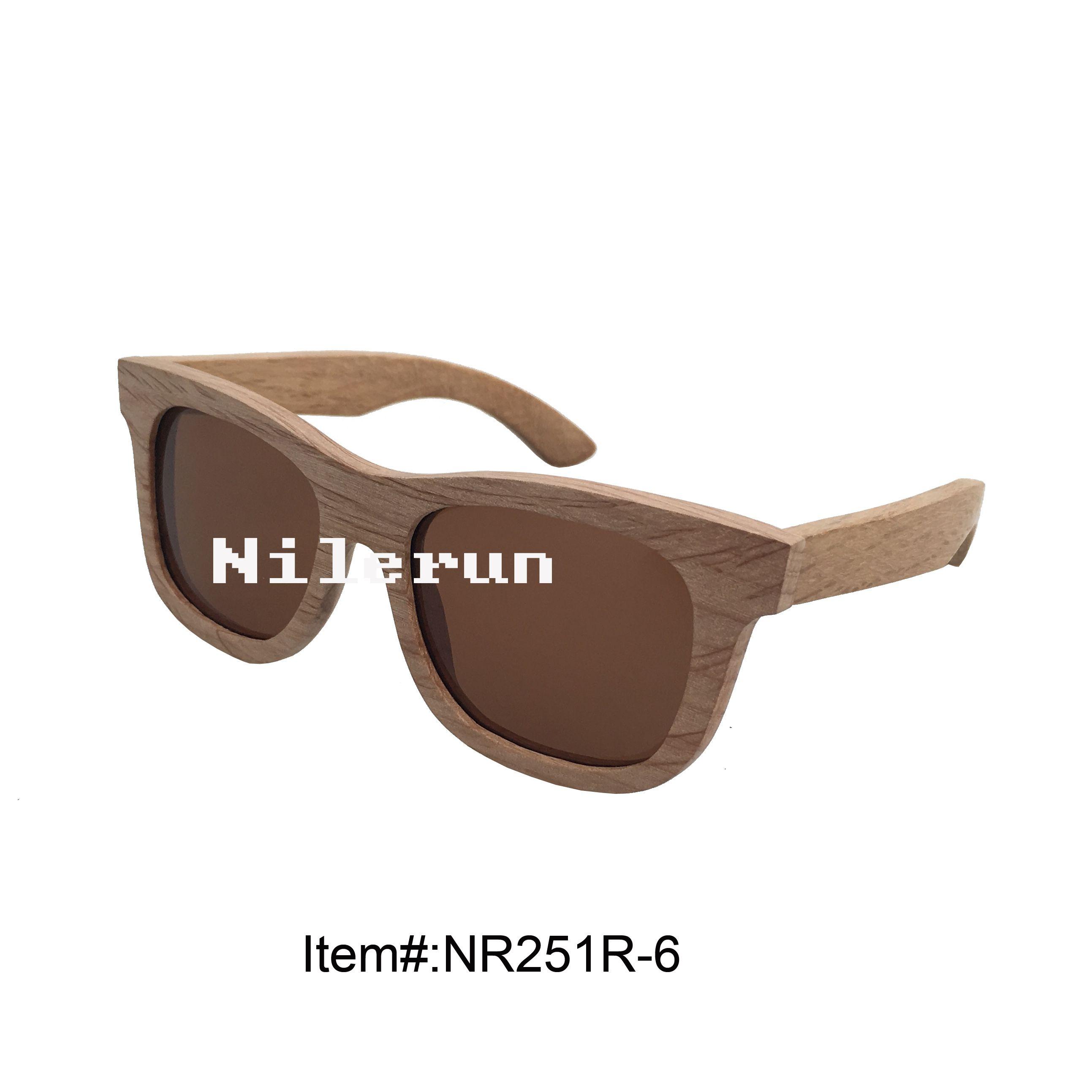 lunettes de soleil en bois à monture carrée