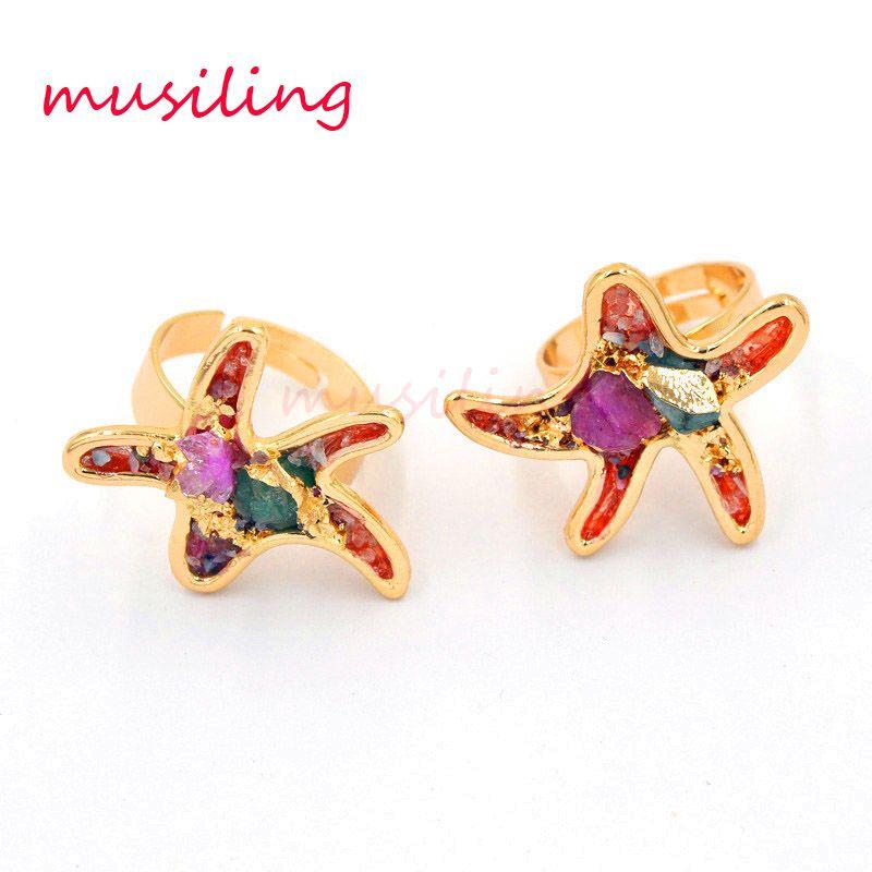 Anelli di nozze in pietra naturale anello regolabile geometrica moda gioielli mix colori accessori di cristallo di quarzo amuleti gioielli per le donne