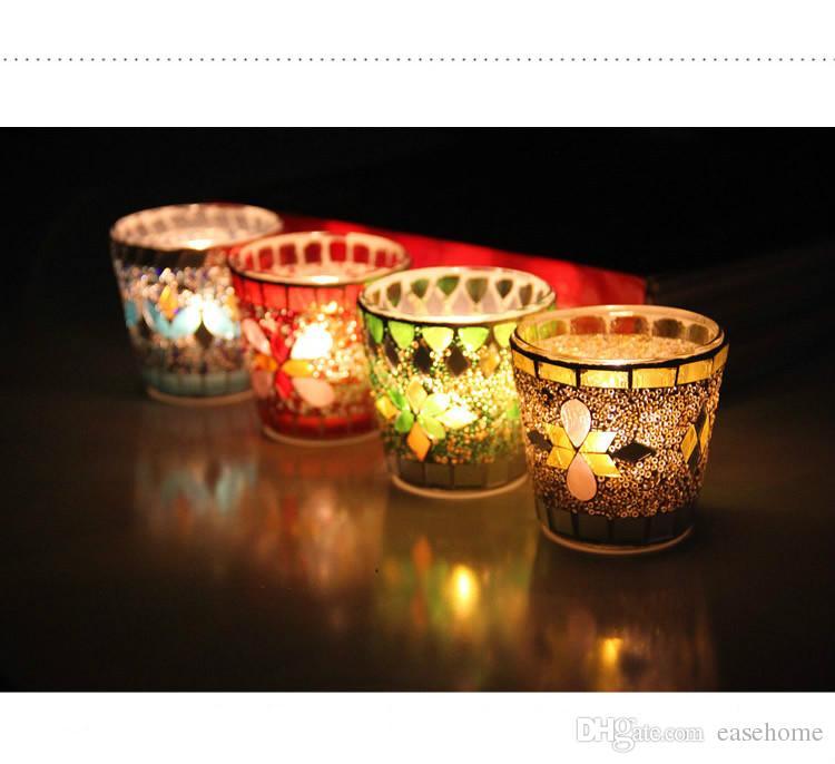 Freeshipping boda decoraciones evento y decoración para el hogar nuevo 4 colores mosaico candleholders vidrio colorido para la decoración del hogar