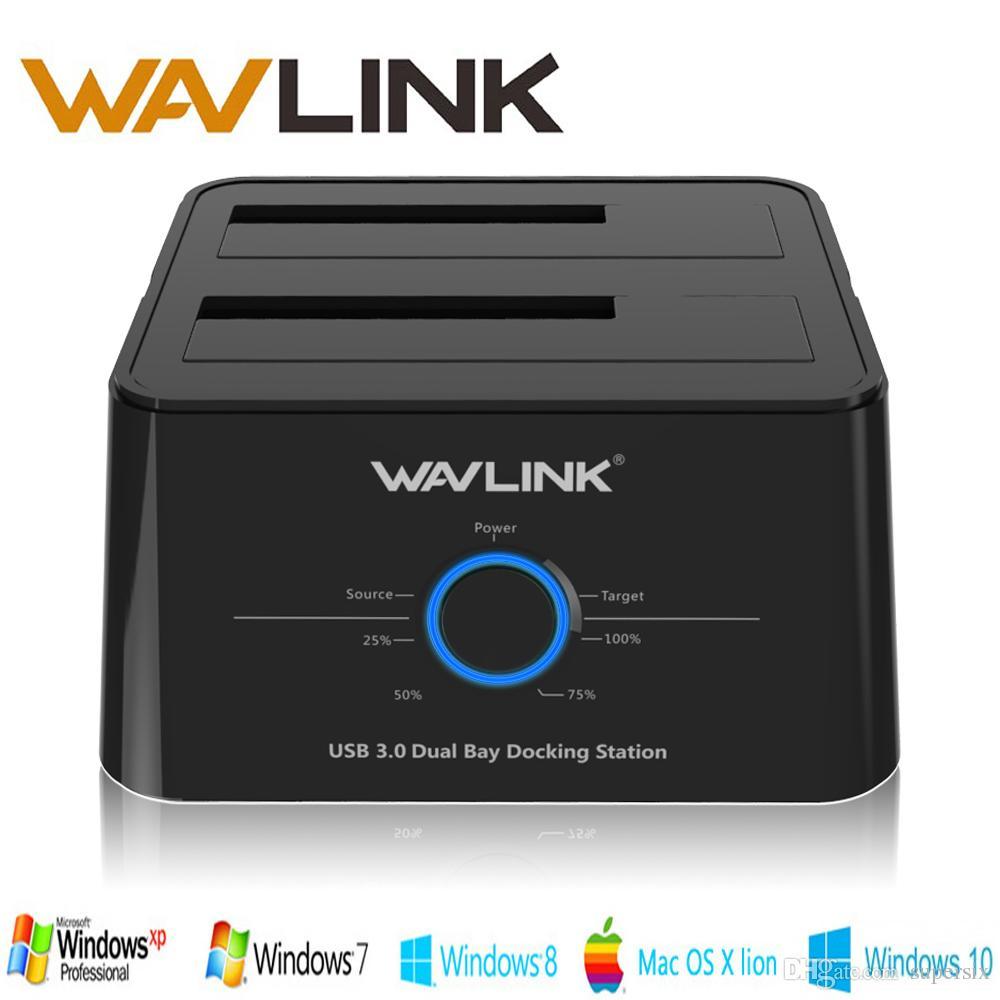 محرك الأقراص الصلبة Wavlink USB 3.0 المزود بقرص صلب مزدوج محطة الإرساء الصلبة الخارجية 2.5 / 3.5 SSD SATA 1/2/3 حاوية لحالة الأقراص الصلبة 2 * 8 TB