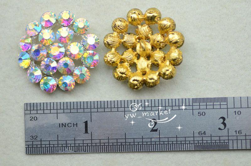 AB Rhinestone Button Costume Dress Applique Silver// Golden A81275