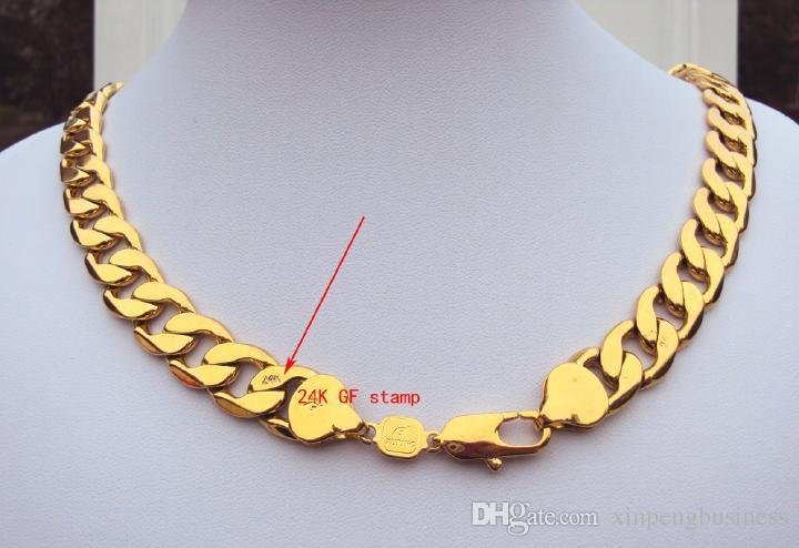 الثقيلة! 108 جرام 24 كيلو ختم الذهب الأصفر الحقيقي 23.6 بوصة الرجال قلادة 12 ملليمتر كبح سلسلة مجوهرات الدائم الكلاسيكية أفضل تعبئتها مع علبة هدية مجانية
