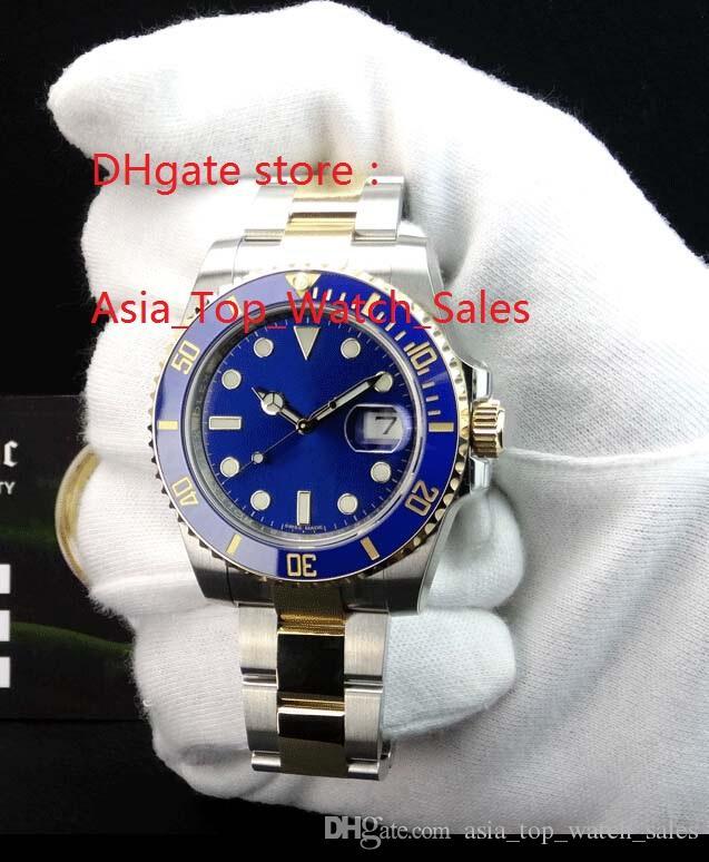 Yüksek kaliteli Watcshes + Kutu mavi Seramik Çerçeve mavi Dial 116613 16613 Paslanmaz Çelik Asya 2813 Mekanik otomatik Erkek Watche
