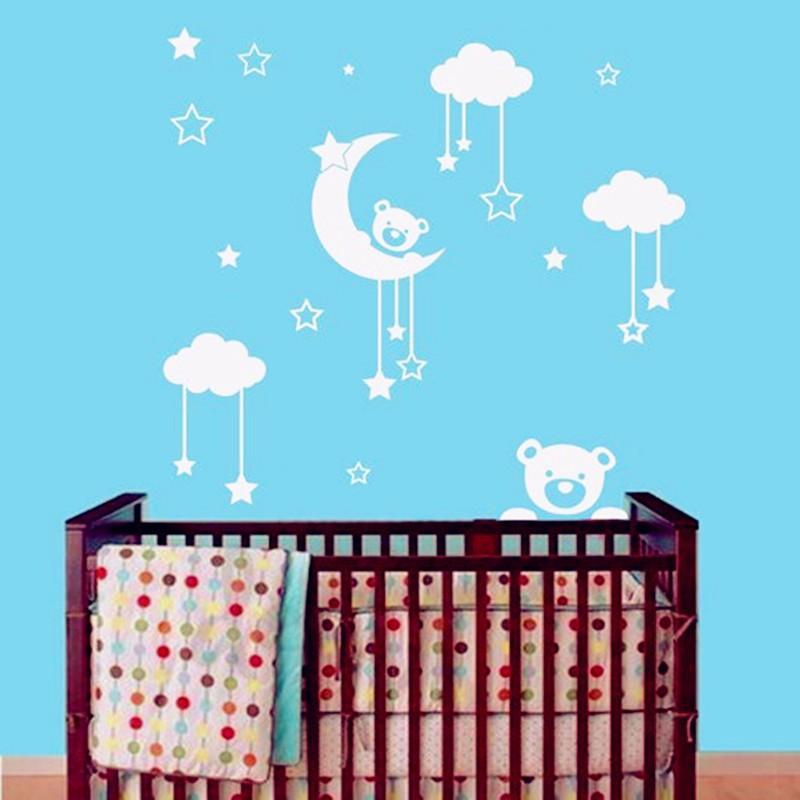 2016 New Cute Teddy Bear Moon Stars Wall Sticker Baby Bedroom Wall Art  Decor 3D Vinyl Decal Teddy Bear Baby Sleeping Guard Wall Decorative Decals  Wall ...