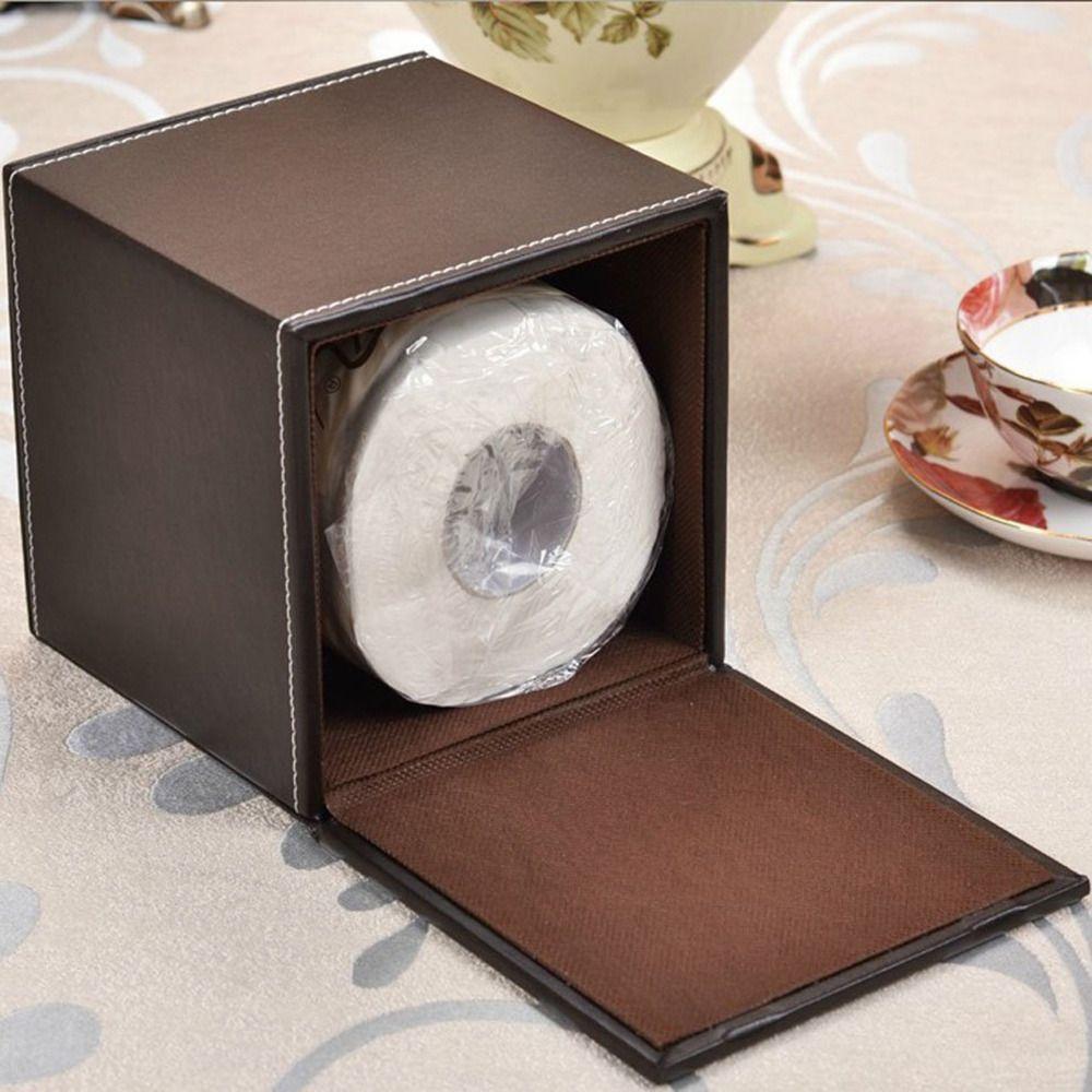 도매 - 심플 디자인 크리 에이 티브 PU 가죽 티슈 박스 홀더 사무실 홈 룸 / 자동차 / 화장실 방수 롤 종이 케이스 티슈 박스