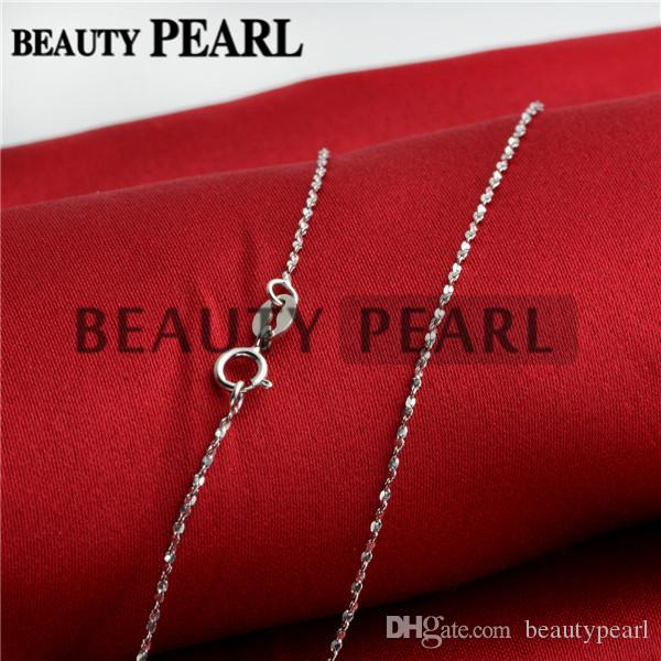 Women Girl Beauty Jewelry Simple Necklace Collar 1mm 925 Sterling Silver Necklace Chains Wholesale 5 Pieces
