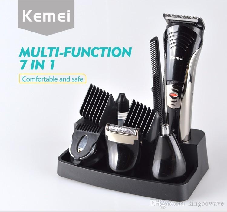 New Design Kemei 7-in-1 rechargeable Grooming Beard clipper Hair Shaver Sets beard trimmer Men's Razor Trimmer Kit KM-590A