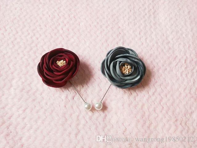 New fashion uomo e donna spilla fiore rosa spilla 5 cm vestito fiore boutonniere filato pin 3 colori pulsante spille bastone per il matrimonio