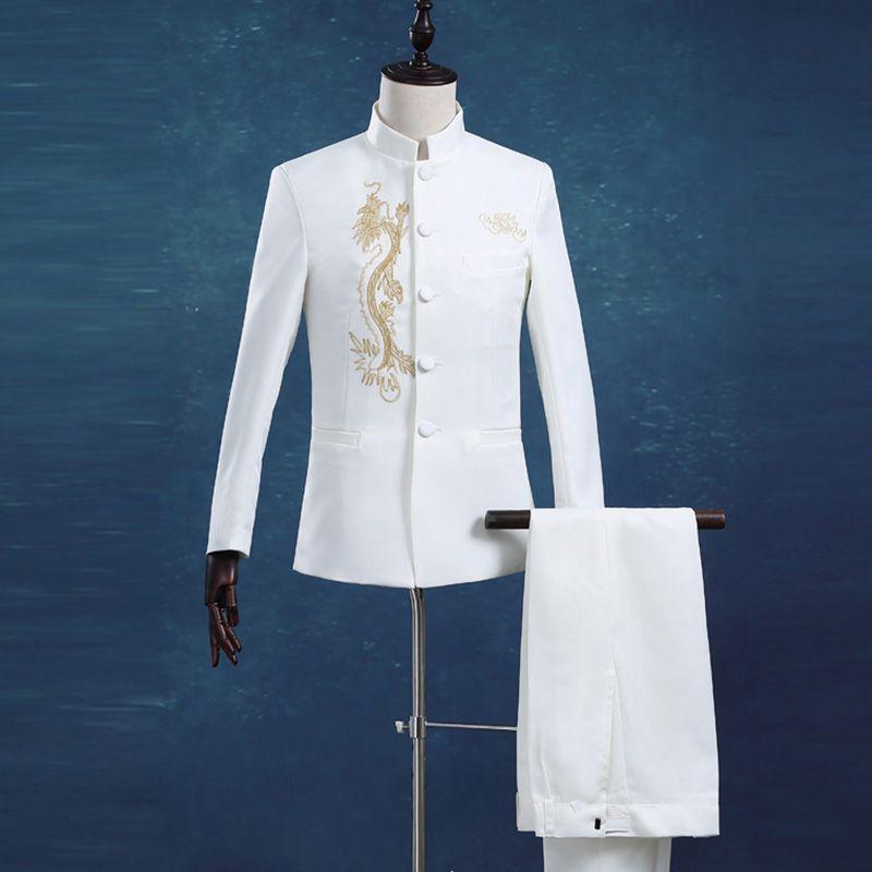 All'ingrosso 2016 di vendita calda di modo maschio Abiti collare del basamento Business Casual smoking cinese Drago Bianco Slim tunica Suits Blazer (giacca + pantaloni)