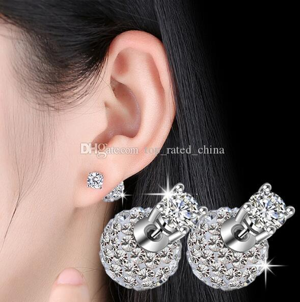 High quality 925 Sterling Silver Double sided Shambala Ball Stud Earrings Diamond Crystal Disco Stud Beads Earings For Women Girls K49