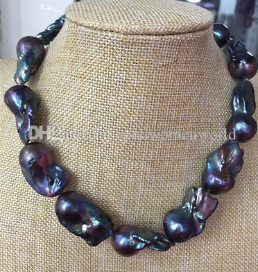Schnelles freies Verschiffen reale feine Perlen-Schmucksachen, die 30-35mm große barocke Pfaublau-Perlenhalskette 20inch 925s bezaubern