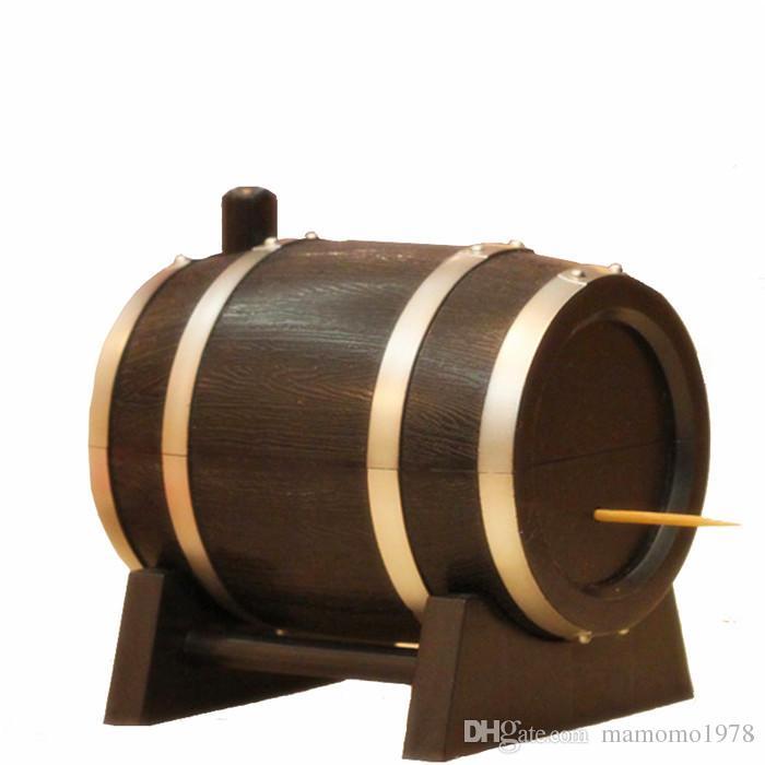 1PC Creative Oak Wine Barrel Type Automatic Toothpick Holder Press Bucket Dispenser Tooth Pick Cotton Swab Case box Black O 0336