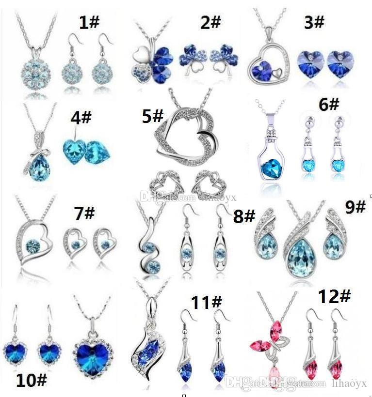 12 Set hochwertige Kristall Diamant Anhänger Halskette und Ohrringe Sets eine Vielzahl von Stilen für Frauen Schmuck-Set