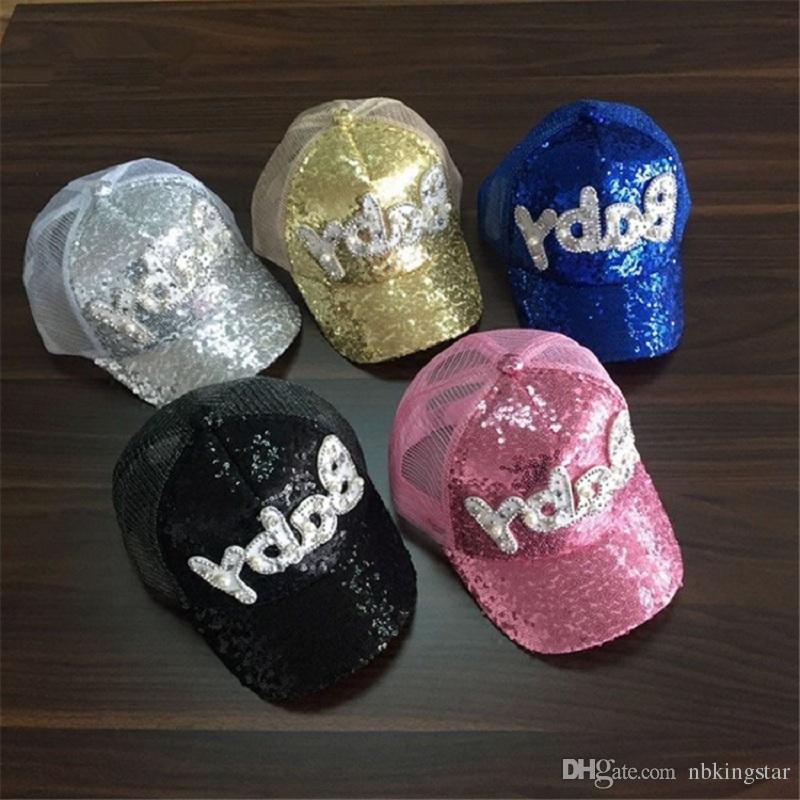 Niños Rhinestones Lentejuelas Gorra de béisbol Cartas de impresión Gorras de malla Borde curvo Playa Sólido Niños Snapback Sombrero Verano Hip Hop sombreros