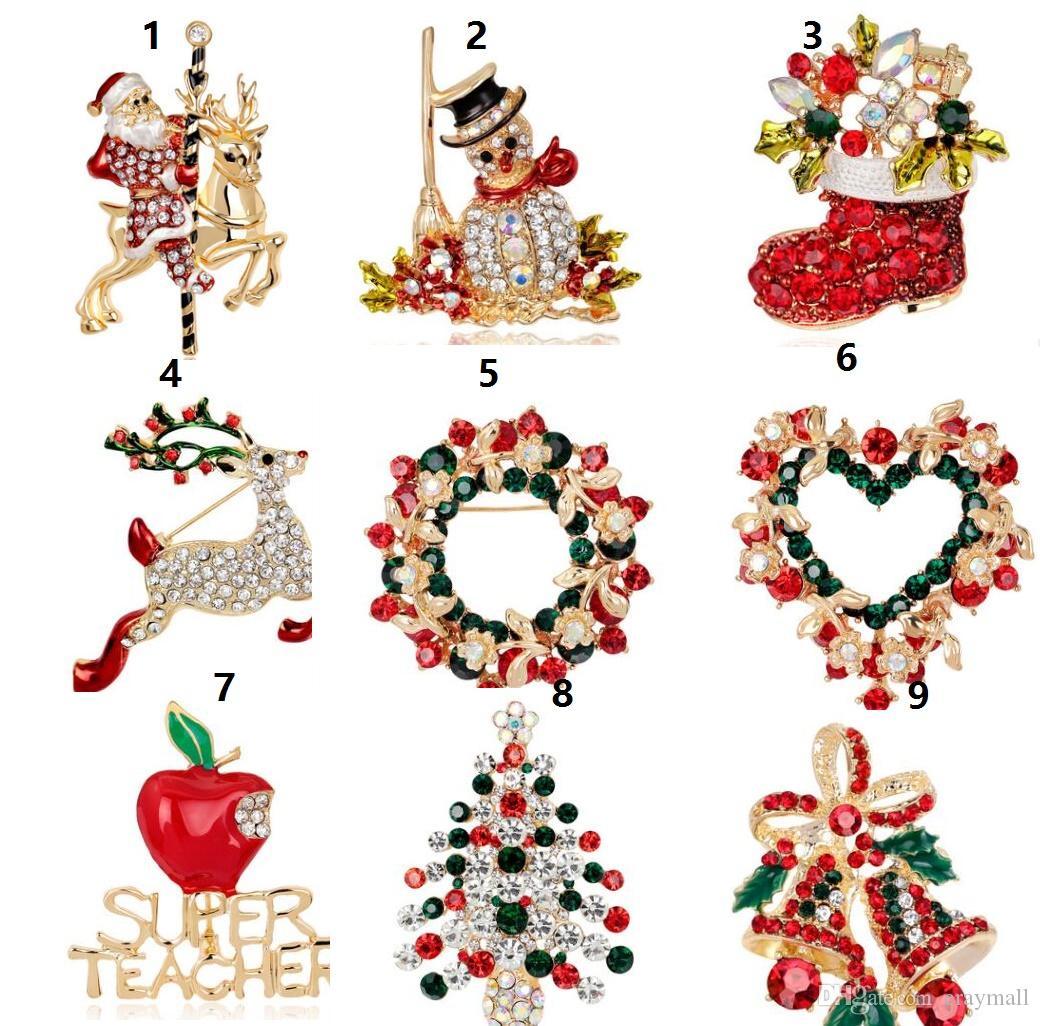 Рождественские броши булавки Рождественская елка на Рождество сапоги снеговик корсажи Санта сани колокола пингвин серии 83
