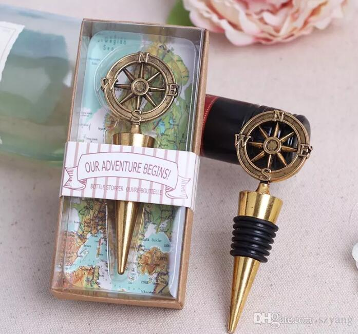 Free Shipping Hot Sell 100pcs Nautical Theme Compass Wine Stopper Wedding Favors Bridal Shower Ideas Beach Party Bottle Opener