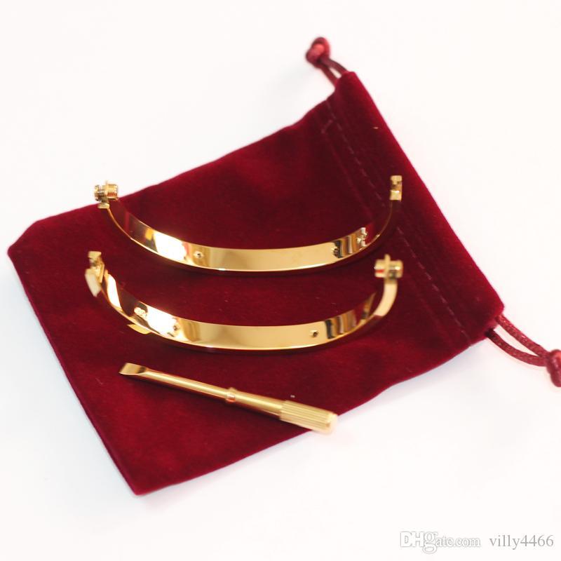 Classic Love Bracelets Schraubendreher Silber Roségold Armband Armbänder Frauen Männer Schraube Schraubendreher Armband Paar Schmuck mit Beutel Geschenk