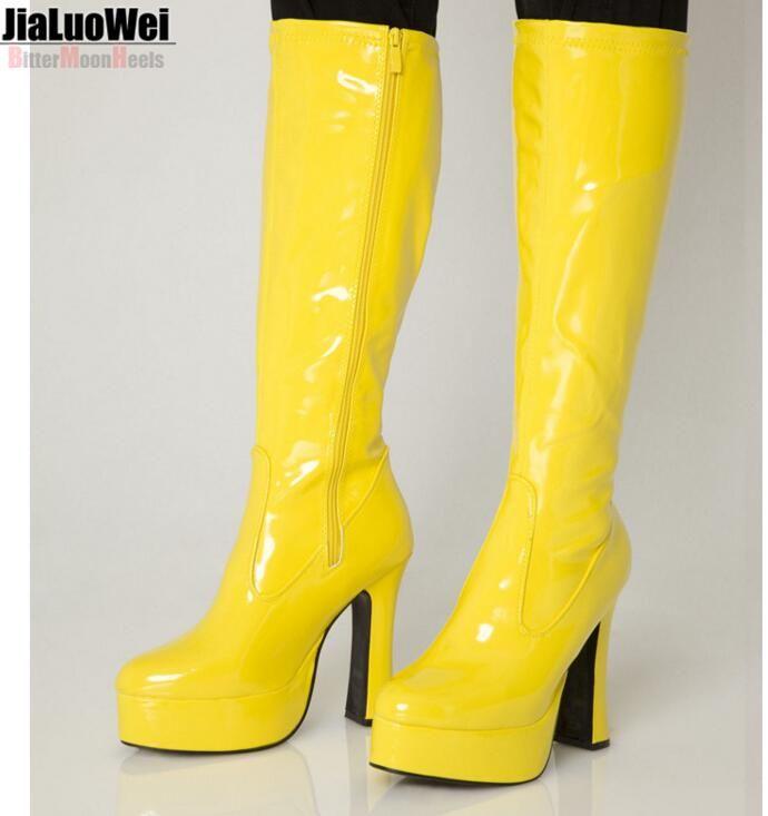 2019 New Women Knee High Boots Exotica Chunky Heel Platform Thick
