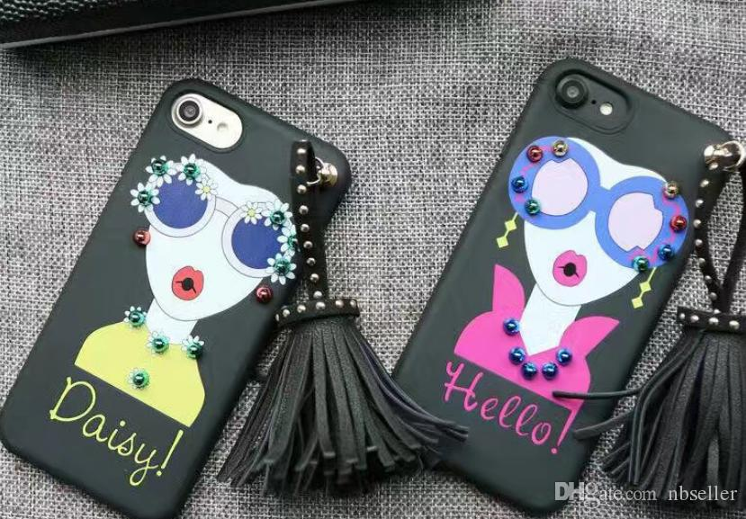 Korean Style Rivet Tassels Pendant TPU Case for iPhone 7 7plus 6 6s 6plus Soft TPU Back Case Funda Fashion Sunglasses Girl Painting