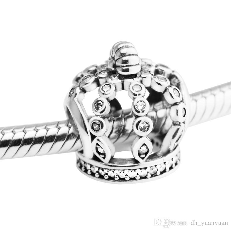 Fairytale Crown Charm Clear CZ 2017 Primavera 100% 925 Sterling Silver Beads Fit Pandora Charms Bracciale autentico gioielli moda fai da te
