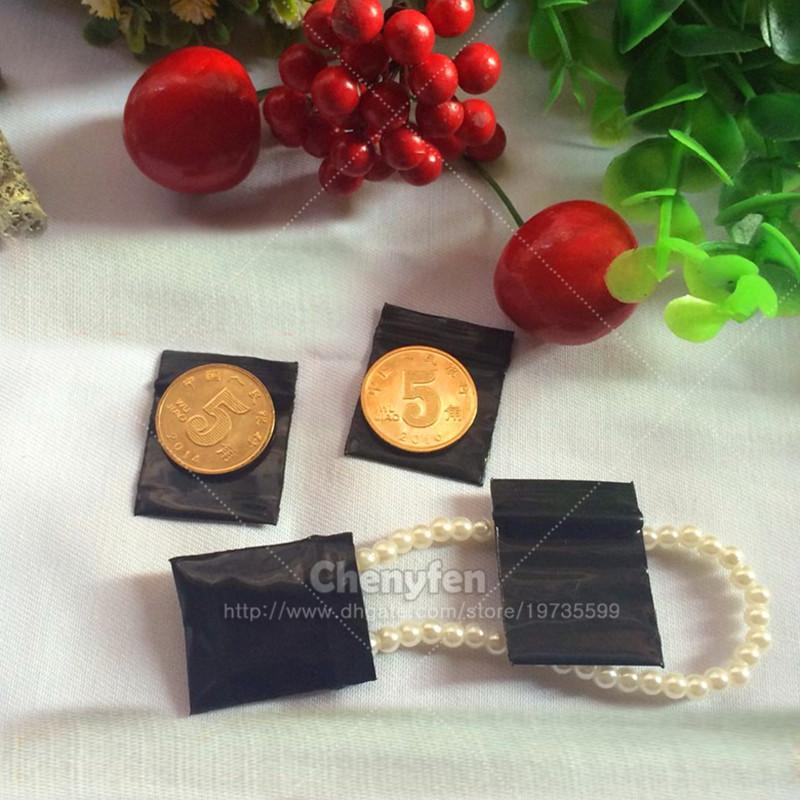 "Freee Shipping 2x2.5cm Opaque Black Color Resealable Tiny Ziplock Baggies 500pcs 0.8""x1"" Plastic Mini Poly Zip Lock Bags 8Mil"
