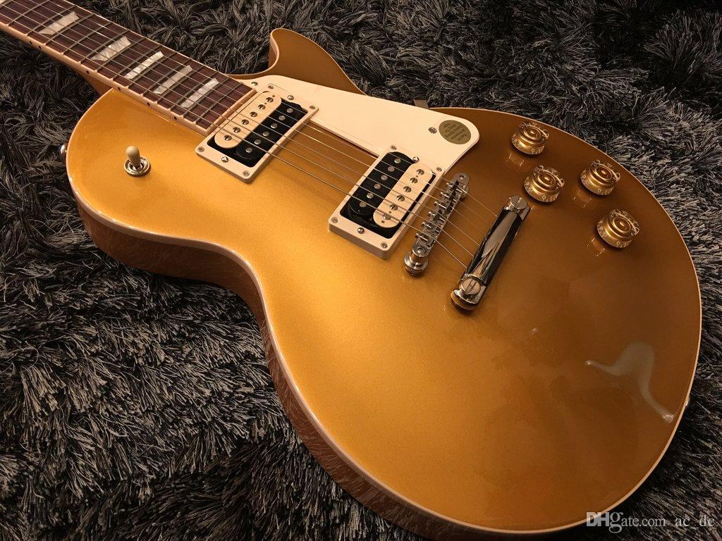 Custom Shop Classique 2017 Gold Top Goldtop Guitare électrique sale doigt Micros blanc MOP Inlay