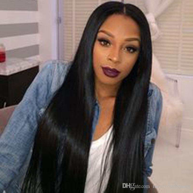 Top quality straight wig simulation human hair wig silky straight natural color wig for black women