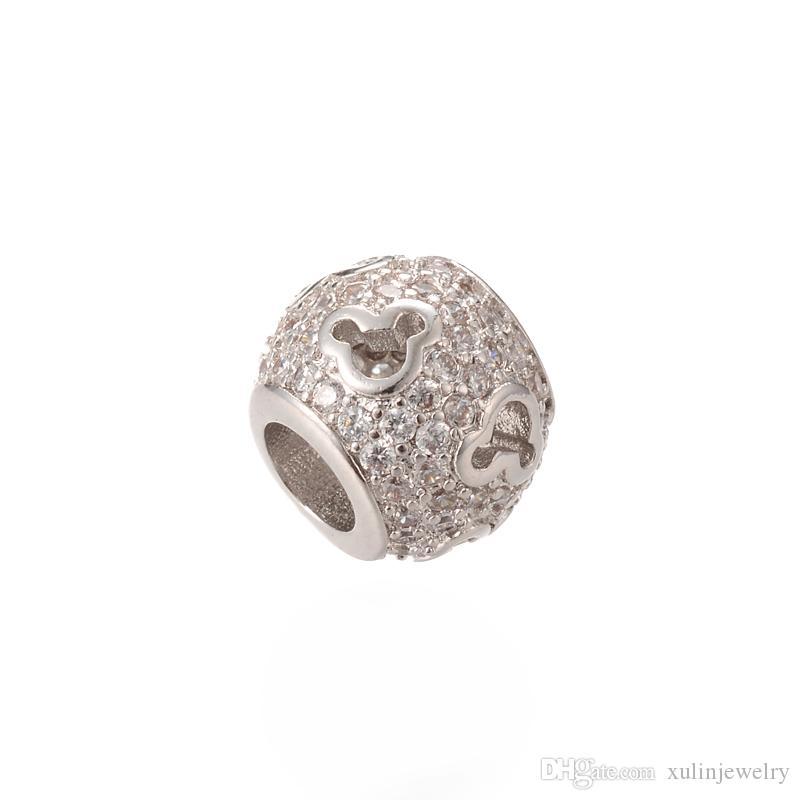 Top Silver Качество CZ Pave бусины Оптовая Big Hole шарма шарика Short Tube Rondelle бисера Совместимость ICPD012