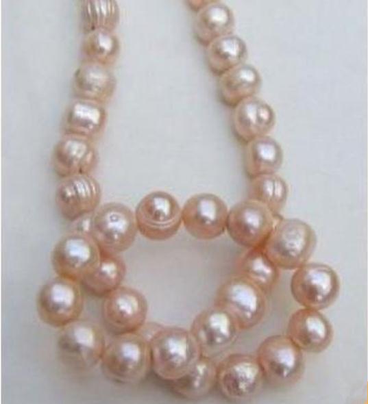 Lindo 11-12mm naturais mares do sul rosa barroco pérola colar de 18 polegadas 14k fecho de ouro